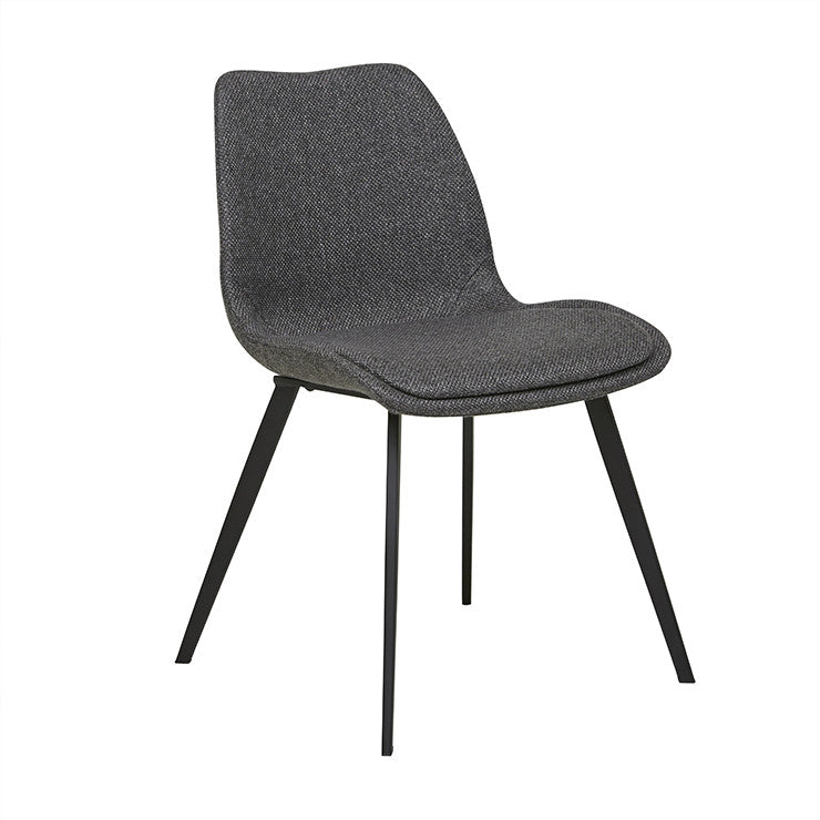 Isaac Dining Chair - Woven Charcoal / Black