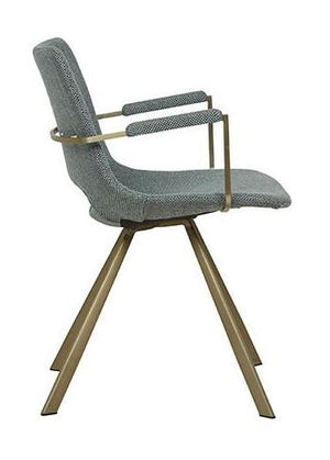 Lacey Arm Chair - Woven Teal / Brass