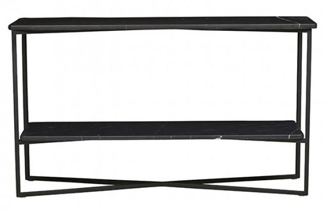 Elle Luxe Marble Console - Black Marble / Black
