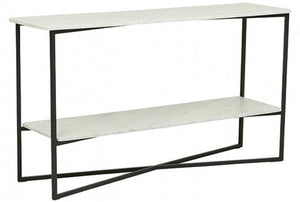 Elle Luxe Marble Console - White Marble / Black