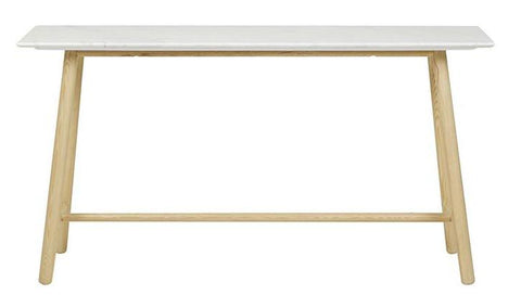 Sloan Tri Marble Console - White / Natural Ash