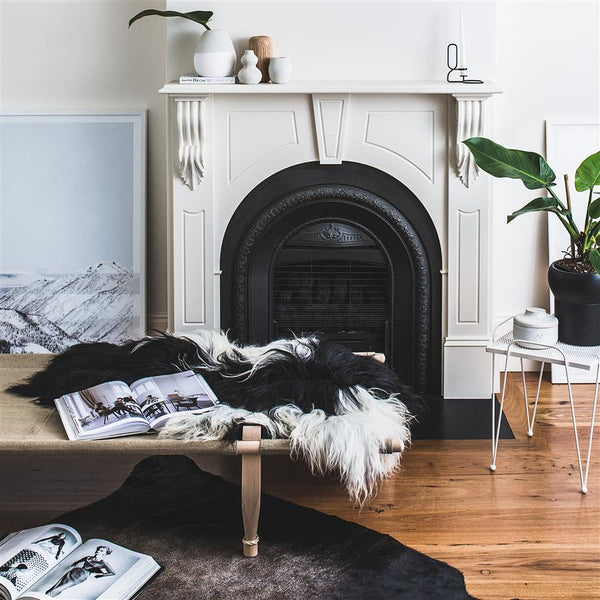 Icelandic Sheepskin - Natural White + Black Spots