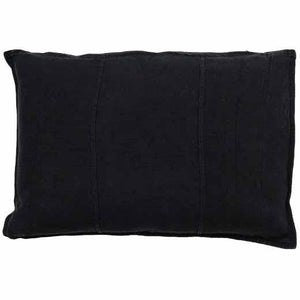 Luca Linen Rectangle Cushion Black