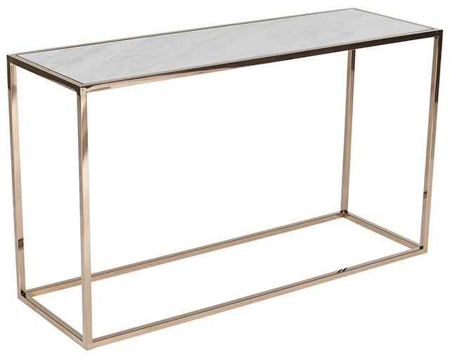 Elle Cube Marble Console - White Marble / Brass