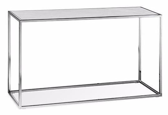 Elle Cube Marble Console - White Marble / Steel