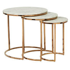 Elle Round Marble Nest Of 3 Tables