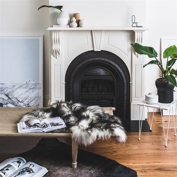 ICELANDIC SHEEPSKIN - NATURAL WHITE + BLACK STREAKS