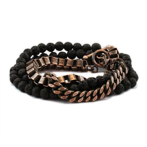 Carpe Diem Rose Gold Man Beaded Bracelet