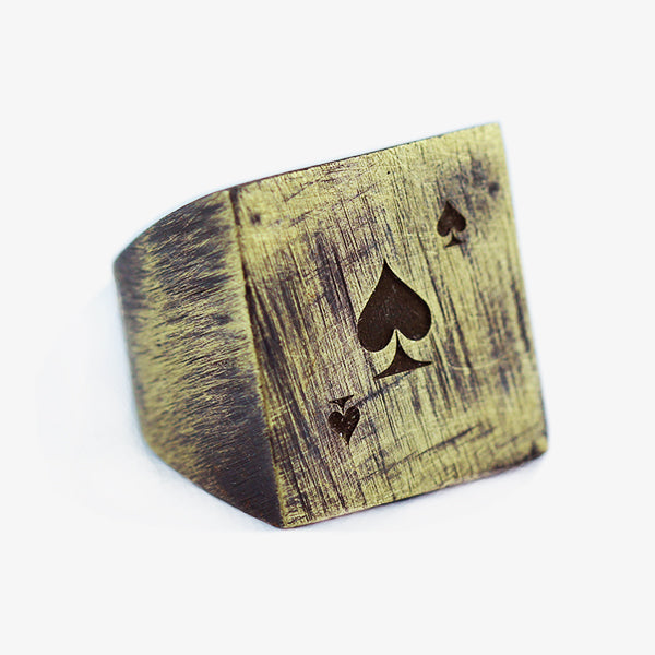 Gold Deck of Cards Square Mens Rings