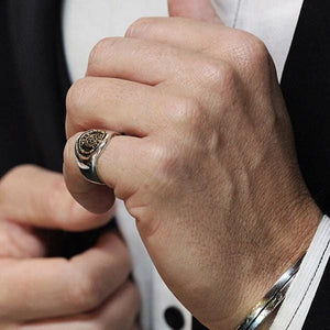 Mens Signet Ring Sterling Silver Gold Coin