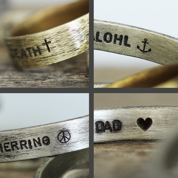 Carpe Diem Mens 925 Sterling Silver Personalized Cuff