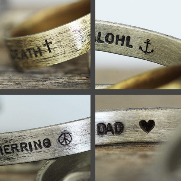 engraved silver wedding band