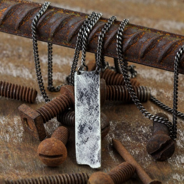 Mens Silver Necklace Custom Engraved