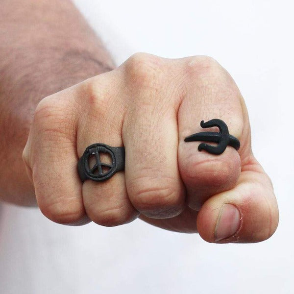 Black Adjustable Dagger Trident Ring