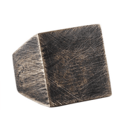 Black Geometric Square Mens Rings