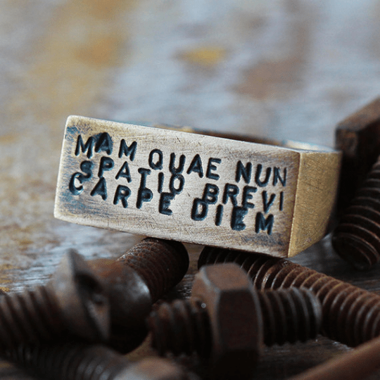 Carpe Diem Brushed Bronze Heavy Ring