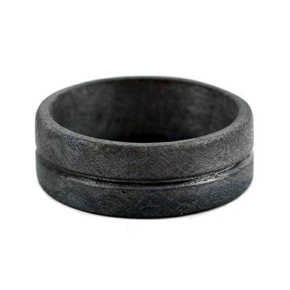 Black Sterling Silver Mens Line Rings