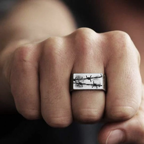 Barbed Wire Personalized Engraved And Oxidized Silver Men's Wedding Band