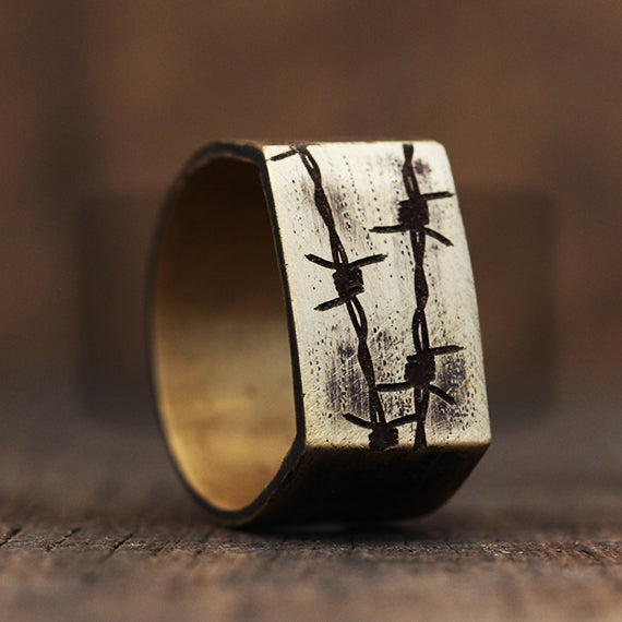 Gold Mens Barbed Wire Rings Cool Wedding Band