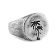 Palm Silver Brushed Round Signet Mens Rings