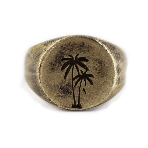 Palm Gold Brushed Round Signet Mens Rings
