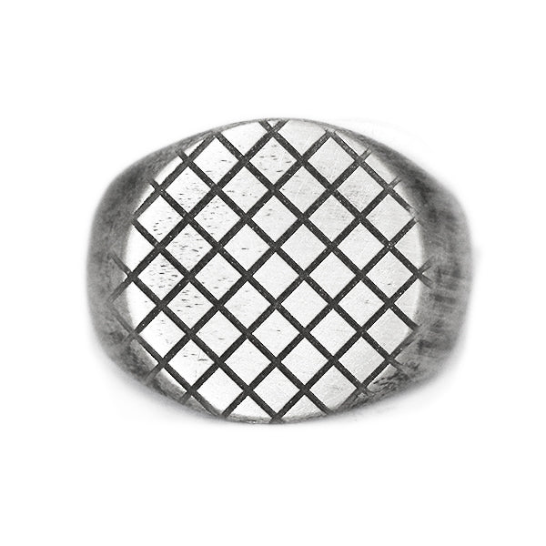 Silver Brushed Checkered Signet Ring
