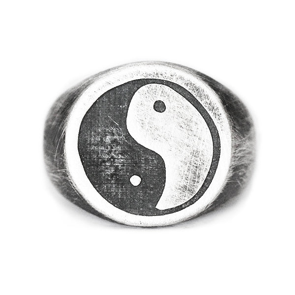 Silver Brushed Ying Yang Signet Ring