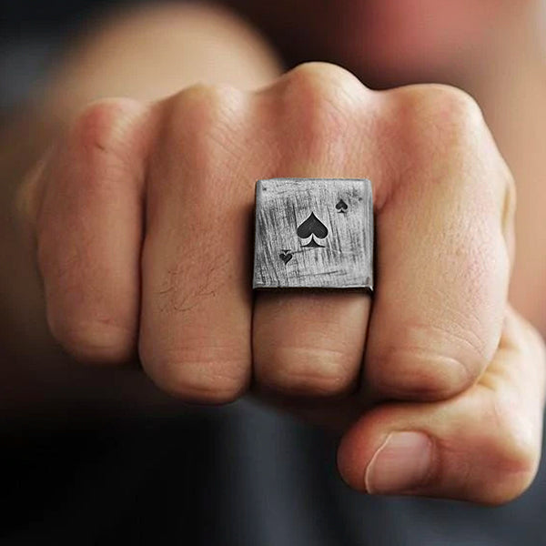 Silver Deck of Cards Square Mens Rings