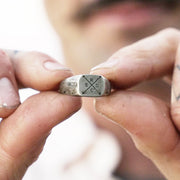 Silver Family Engraved Custom Signet Ring