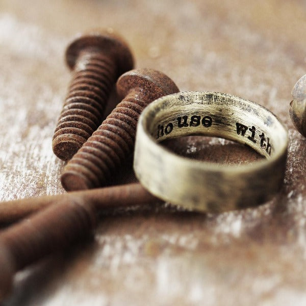 rustic gold custom engraved wedding band