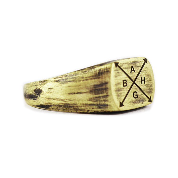 Gold Family Engraved Custom Signet Ring
