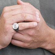 Silver Brushed Round Signet Mens Ring