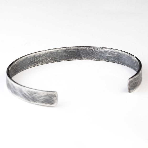 Carpe Diem Mens 925 Brushed Silver Personalized Cuff
