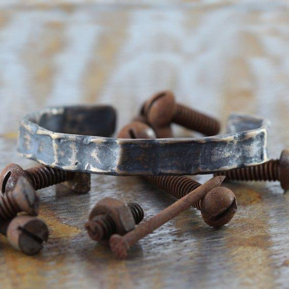 Carpe Diem Oxidized Bronze Mens Bracelets