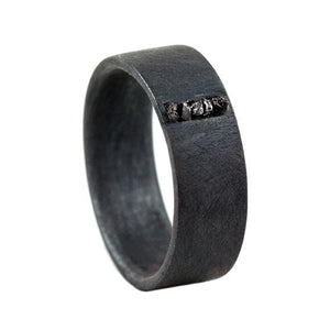 Silver Rustic Black Uncut Diamond Wedding Band