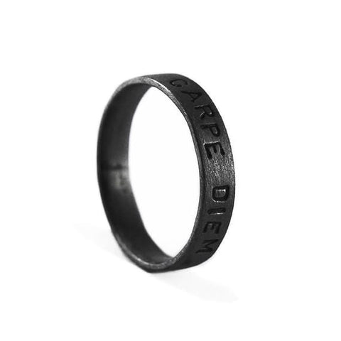 black silver ring