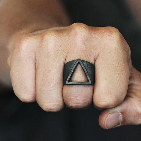 black silver triangle ring