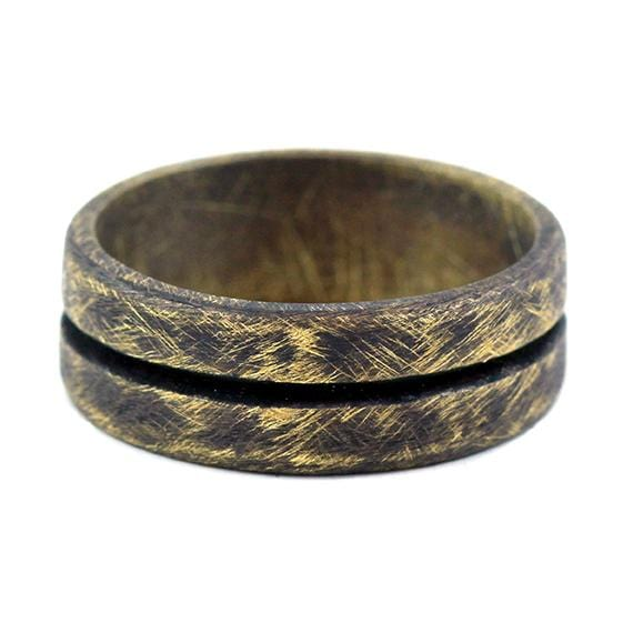 Oxidized Gold Mens Line Wedding Band