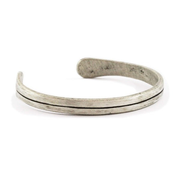 Mens Personalized Engraved Oxidized Silver + Alloy Cuff Bracelet