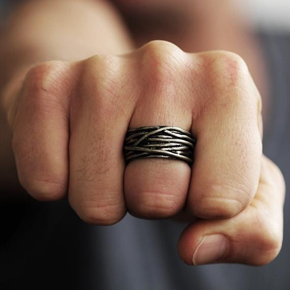 Carpe Diem Silver Wire Mens Rings