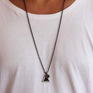Mens Triangle Necklace Black Silver