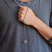 Men's Oxidized Brass And Sterling Silver Coin Charm Necklace