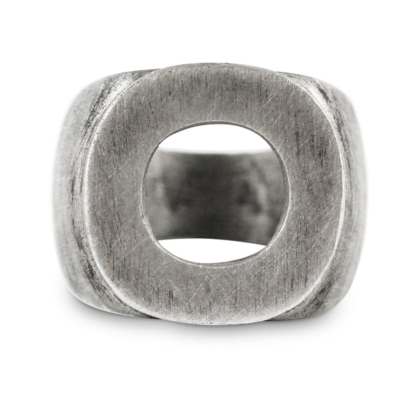 Men's Chunky Personalized Oxidized Silver Circle Ring