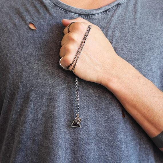 Mens triangle necklace black silver carpe diem cool mens necklace mozeypictures Gallery