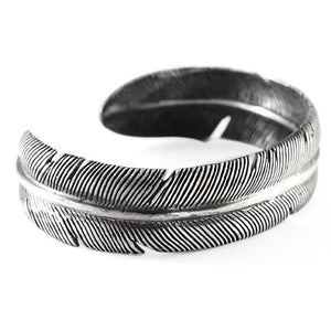 Carpe Diem Brushed Sterling Silver Feather Mens Cuff Bracelet