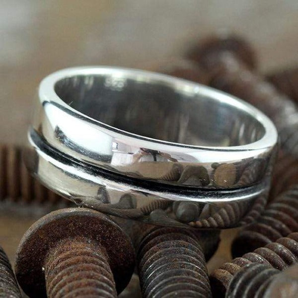 Sterling Silver Mens Line Rings