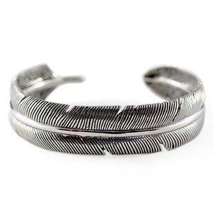 Carpe Diem Sterling Silver Feather Mens Cuff Bracelet