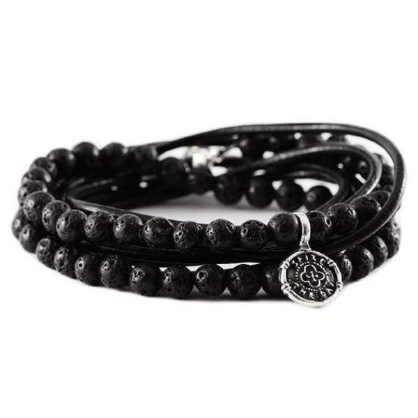 Carpe Diem Mens Sterling Silver Leather Bracelet