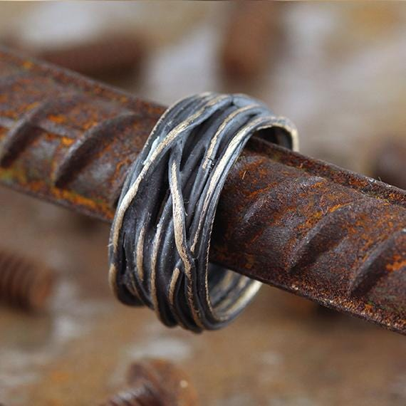 Brushed Bronze Wire Rings