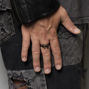 man ring gold skull
